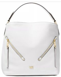 New Michael Kors evie Hobo supple leather front zip pocket optic white bag