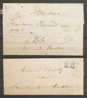2 lettres PP seul, noir 1845, rouge 1844, Superbe X5129