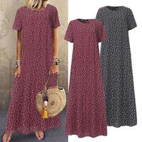 Vintage Femme Robe Dresse Imprimé à Pois Beach Manche Courte Loose Maxi Oversize