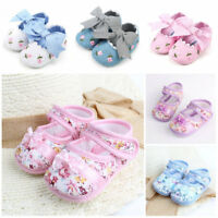 Casual Toddler Infant Girls Flower Print Soft Cloth Crib Shoes Prewalkers Shoes