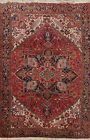Geometric Semi Antique Heriz Traditional Area Rug Hand-Knotted WOOL Carpet 8x11
