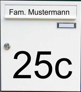 2-teiliges Aufkleber Set für Briefkasten Name Hausnummer Wunschtext Beschriftung