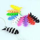 3× Fishbone Earbud earphone Cord silica gel Cable Winder Organizer Colorful SI