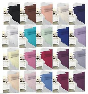 **FREE PILLOW CASE** Plain Polly cotton Fitted Sheet ALL SIZES