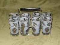 Set of 8 LIBBEY Silver Leaf Drinking Glasses Mid-Century Modern/ w carrier