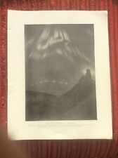 Antique 1912 Illustration Plate Picture Aurora Borealis at Trondhjem Norway