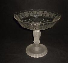 """Duncan & Miller 3 Faces EAPG, Frosted Clear Etched Compote or Pedestal Dish, 8"""""""
