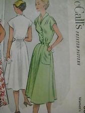 Vintage 1950's McCall's 8861DRESS w/ SCALLOPED BUTTON EDGE Sewing Pattern Women