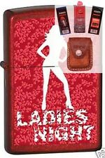 Zippo 3886 ladies night candy red Lighter + FUEL FLINT WICK POUCH GIFT SET
