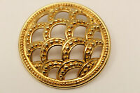 Beautiful Vintage Signed MONET Goldtone Domed Circle Brooch Pin G*