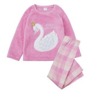 Childrens / Girls Swan Pyjamas with Super Soft Snuggle Fleece Top ~ 7-13 Years