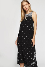 NWT WITCHERY PRINT SHIFT DRESS SZ 8 BLACK, CURVED HEM, KEYHOLE DETAIL, MOTIF