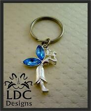 Silver Blue Crystal Fairy Keyring Purse Charm Key Chain FOB