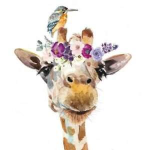4 individual floral giraffe decoupage napkins, mixed media, craft