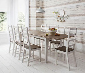 Dining Table and Chairs Dark Pine and White Dining Set Extending Canterbury