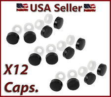 12 Black Fastener Caps License Plate/Tag Frame Auto car truck screw/nut covers