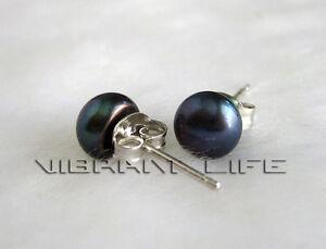 6.5-7.0mm Peacock Blue Freshwater Pearl Stud Earrings  U