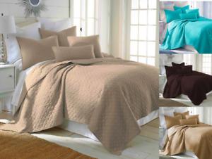 Nena 2/3 Piece Bed Bedspread Soft Quilt Coverlet Solid Stippling Stitch Set