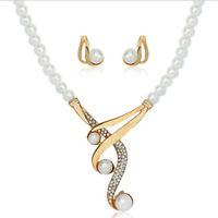 Fashion Faux Pearl Crystal Necklace Earrings Jewelry Set For Wedding Part~jp MW