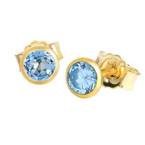 Paar Ohrstecker Echt Blautopas Gelbgold 333 8 Karat Gold Kleine Ohrringe
