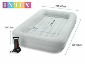 Intex 66810 Kidz Inflatable Folding Travel Air Bed Set with Hand Pump for Kids