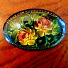 Vintage Russian USSR Lacquer Brooch Pin Hand Painted Flowers Floral-Estate 1988