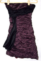 BCBG Max Azria Womens Dress Small Purple Strapless Sash Metallic Ruched Club
