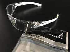 New In Packet Genuine Mack Branded Clear Anti Fog Safety Glasses UV Safe
