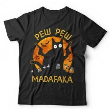 Pew Pew Madafaka Halloween Tshirt Unisex & Kids - Cat, Funny, Bat, Pumpkin