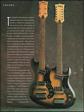 The Rare 1960s Bartell Doubleneck 6/12 String Guitar 8 x 11 pinup 1991 article