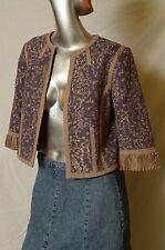 Peter Nygard Lavender w/Embroidery, Matador Jacket, 3/4 Sleeve Sz 4, Linen Blend