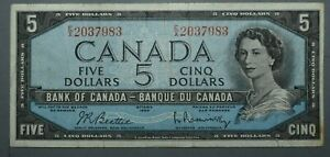 Bank of Canada $5 1954  Canadian Banknote World Paper Money Pick 77 Fine
