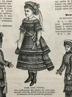 MODE ILLUSTREE SEWING PATTERN Dec 3,1876 DOLL outfits patterns