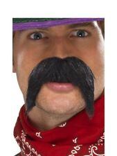 Black Bushy Gringo Mexican Moustache Tash  Wild West Fancy Dress