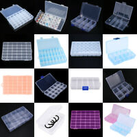 Plastic 15/24/36 Slots Adjustable Jewelry Storage Box Case Craft Organizer Bead