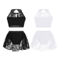 Girls Lace Ballet Crop Top + Bottoms Dance Wear Kid Contemporary Dancing Costume