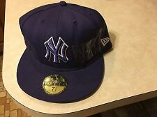 New Era 5950 59Fifty 7 1/2 fitted New York Yankees cap purple w/white trim w/tag