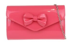 Ladies Glossy Clutch Bag Plain Small Bow Flap Party Prom Nude Evening Bridal