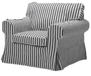 New Ikea Original Cover for Ektorp Armchair in Vallsta Black/White Stripe RARE