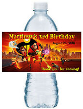20 ~ THE INCREDIBLES BIRTHDAY PARTY FAVORS WATER BOTTLE LABELS