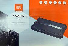 "NEW JBL ""STADIUM 5"", 4-ohm Stable 5-Channel Class-D Car Amplifier w/ Bass Knob"