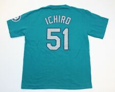 Seattle Mariners Ichiro Suzuki Majestic Teal Blue Shirt Large MLB Baseball Large