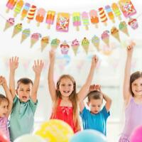 Ice Cream Happy Birthday Banner Bunting Cloth Garland Birthday Party Decor