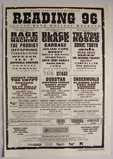 READING FESTIVAL 1996 Poster Ad STONE ROSES SCREAMING TREES SONIC YOUTH PRODIGY