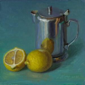 "Original still life painting a day realism metal cup lemon 8x8"" Y Wang fine art"