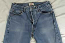 Levi 501 Button Fly Straight Leg Faded Denim Jeans Tag 33x33 Measure 31x30
