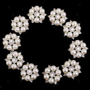10pcs Kristall Diamante Perlen-Blumen-Brosche-Knopf DIY Braut Hochzeit