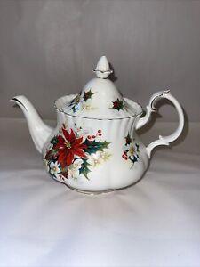 Rare Vintage Christmas Royal Albert Poinsettia Large Teapot 2+ pints