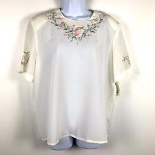 Vtg Christie & Jill Womens Blouse Sz 14 White Floral Embroidery New Jf46
