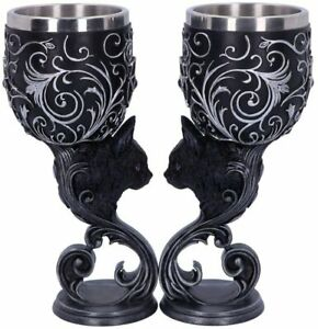 Familiars Love Goblets - Twin Cat Heart - Set of Two Goblets - Gothic